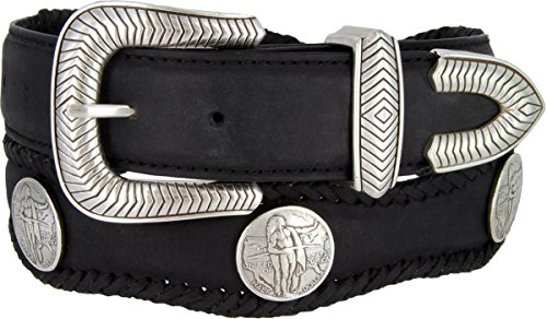 American Indian Coin Conchos Western Leather Scalloped Belt Black 42