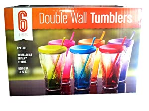 Assorted Acrylic Double Wall Tumblers with Straws - Set of 6 by Sam's West