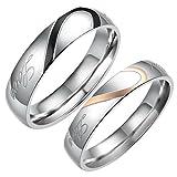 Flongo Real Love Coeur Acier Inoxydable Bague Anneaux Argent Noir Valentin Amour Couple Mariage Engagement Promesse Homme Taille 71