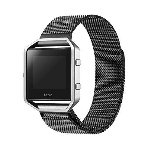 Fitbit-Blaze-Accessory-Band-LargeOitom-Milanese-loop-stailess-steel-Bracelet-Strap-for-Fitbit-Blaze-Smart-Fitness-Watch-Black-Silver-Large-with-unique-Magnet-lock