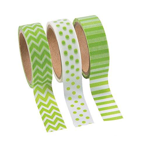 Green Washi Tape Set - 16 Ft. Of Tape Per Roll (3 Rolls Per Unit) Patterns: Chevron, Polka Dots and Stripes.