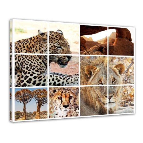 Bilderdepot24 Leinwandbild Afrika Collage I - 70x50 cm 1 teilig - fertig gerahmt, direkt vom Hersteller