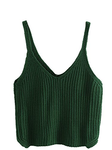 SweatyRocks Cami Top Knitted Crop Top Ribbed Tank Undershirt