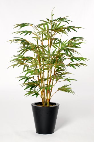 House of Silk Flowers Artificial Yellow Bamboo Floor Plant 28″W x 48″H