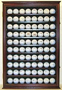 Large 80 Souvenir Golf Ball Display Case Holder Cabinet, with glass door, Solid Wood by DisplayGifts