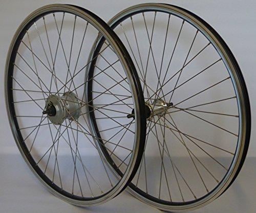 26 Zoll Fahrrad Laufradsatz REFLEX Hohlkammerfelge schwarz Shimano Dynamo DH3N31/THX800 Vollachse silber Niro silber