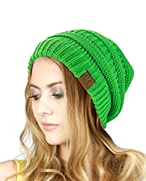 Trendy Warm Chunky Soft Stretch Cable Knit Slouchy Beanie Skully HAT20A, Neon Lime
