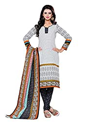 SayShopp Fashion Women's Unstitched Regular Wear Cotton Printed Salwar Suit Dress Material (ZDM-18_White,Black_Free Size)
