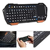 Fosmon Lightweight Wireless Mini PC Portable Bluetooth Keyboard (QWERTY keypad) with Built-In Touchpad Compatible with Smartphones, Tablets, PS3, Laptop, Notebook and Others - Black/Orange