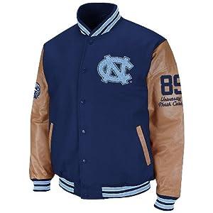 NCAA North Carolina Tar Heels (UNC) Varsity Letterman Button-Up Jacket - Navy Blue... by Colosseum