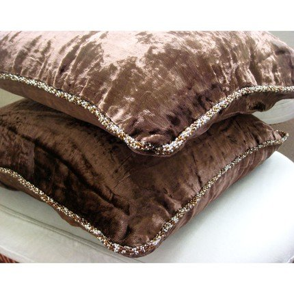 Dark Chocolate Shimmer - 24X24 Inches Square Decorative Throw Chocolate Brown Velvet Sham Covers With Handmade Bead Border front-939971