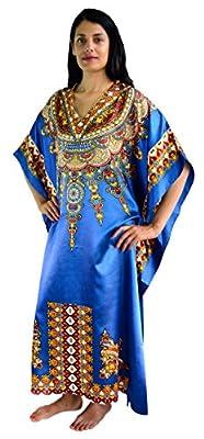 Sante Classics Women's African Collar Poly Satin Caftan