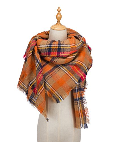 large-tartan-fashion-women-scarf-lovely-best-gift-scarf-wrap-shawl-orange