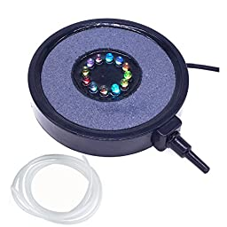 COODIA Aquarium Fish Tank Air Curtain Bubble Generator Bubble Air Stone with 12 Multi-color Underwater Changing LED Light