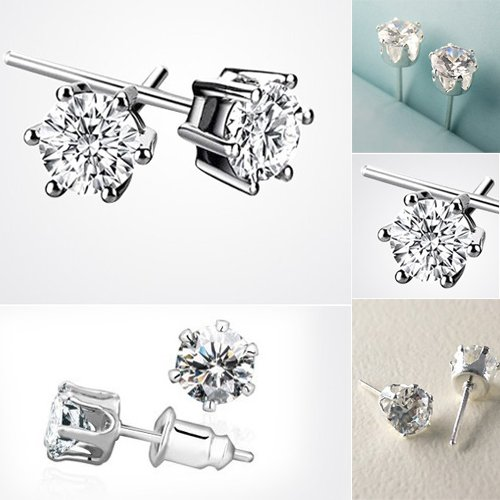SWT Princess Diamond Ear Stud Earrings --- 18K White Gold Plated