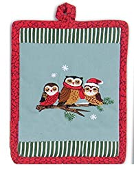 Christmas Critters Embroidered Potholder by Kay Dee