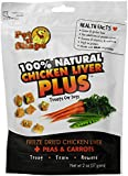Pet 'n Shape Freeze Dried Chicken Liver PLUS Treats for Dogs, Peas and Carrots, 100 Percent Natural, 3 Pack of 2-Ounce Bags