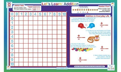 Addition Activity Placemat