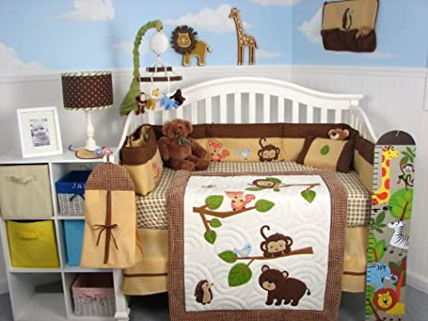Epic Soho Forest Playground Baby Crib Nursery Bedding Set pcs included Diaper Bag with Changing Pad