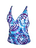 Womens Tropical Escape Tankini Swimsuit Top Separates Swimwear Tie Dye Blue Purple S-XL B/C cup