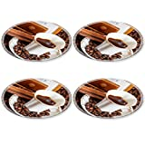 MSD Round Coasters 4 Pack small cup of coffee and roasted coffee beans with vintage manual mill cinnamon Natural Rubber base IMAGE 24414327
