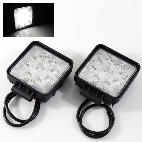 2 X 9 Led Square White Off Road Lights Fog Lamps 4X4 Jeep/Suv/Atv/Truck/Pickup