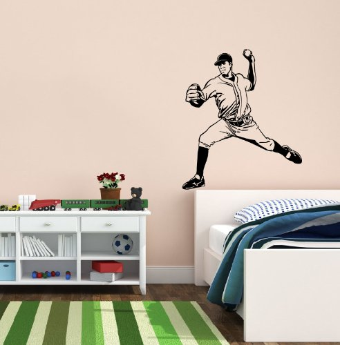 Housewares Wall Vinyl Decal Sport Sportsman Man Playing Baseball Bat Home Art Decor Kids Nursery Removable Stylish Sticker Mural Unique Design For Any Room front-1061067