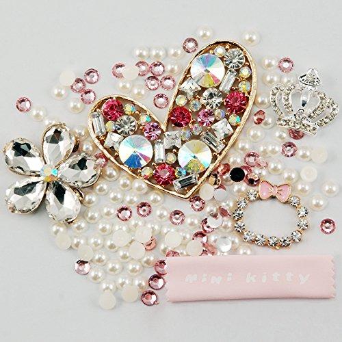 MINI KITTY XMAS GIFT 3D Bling Elegant Crown kawaii love pearl diamond pearl flower favorite Cell Phone Flat back Kawaii Deco Kit / Set ,cellphone diy ,merry christmas gift ,xmas for iphone 4 4S ,iphone 5 5c 5G,for iphone 6 for iphone 6 plus for samsung note 4 samsung s5 mini s5 i9600 for samsung galaxy s3 i9300 ,for samsung galaxy s4 i9500 for sony/htc/nokia/google etc + free microfiber cloth