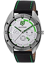 Swisstone FTREK560-WHT-BLK White Dial Black Strap Analog Wrist Watch For Men/Boys