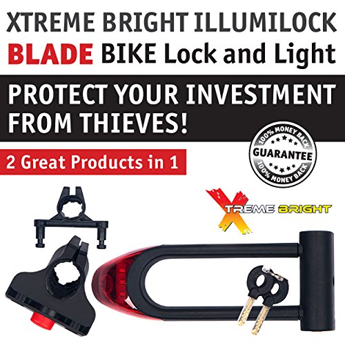 xtreme bright illumilock blade bike u lock inside 16cm x 7cm bicycle headlight tail light. Black Bedroom Furniture Sets. Home Design Ideas