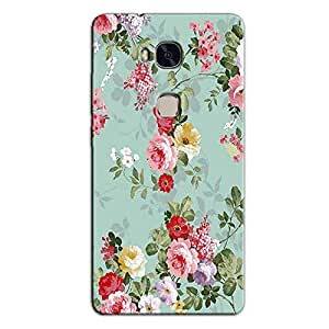 GREEN FLORAL BACK COVER FOR HONOR 5X