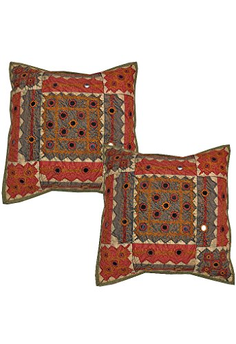 Rajrang Kissenbezüge - mit Spiegeleffekt - Handarbeit grün Baumwolle Kissenbezug 2 St.