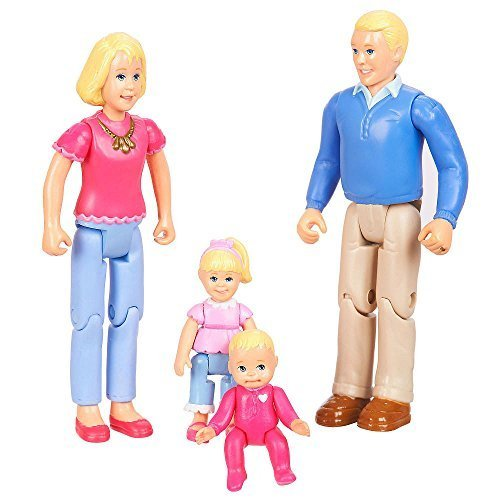 You & Me, Happy Family, Family Action Figure Set [Dad, Mom, Daughter, and Baby] Blonde Hair (Dollhouse Family Figures compare prices)