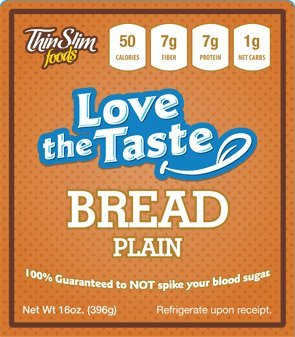 ThinSlim Foods 50 Calorie, 1g Net Carb, Love-The-Taste Low Carb Bread Plain (Low Carb Breads compare prices)