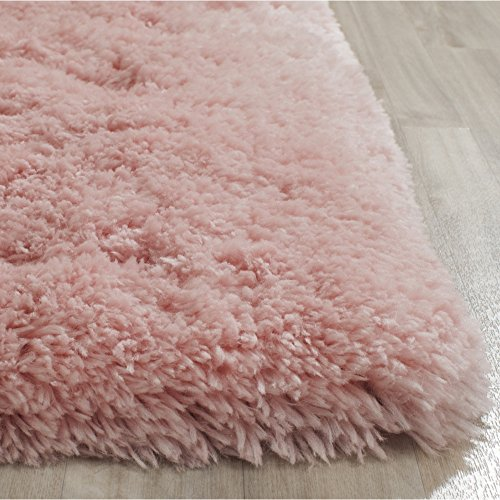 Safavieh Artic Shag Collection SG270P Handmade Pink Polyester Area Rug, 6 feet by 9 feet (6' x 9')