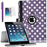 ULAK Colorful 360 Rotating Flip PU Leather Case Cover for Apple iPad mini and the New iPad mini 2 with Retina Display with Smart Auto Wake/Sleep Function and Screen Protector (Polka Dot Purple)
