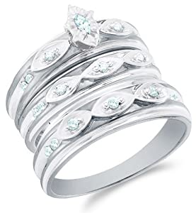 """Size 4 - 10K White Gold Diamond Marquise Shape Center Setting Mens and Ladies His & Hers Trio 3 Three Ring Bridal Matching Engagement Wedding Ring Band Set - Solitaire Setting w/ Pave Set Round Diamonds - (.30 cttw) - SEE """"PRODUCT DESCRIPTION"""" TO CHOOSE BOTH SIZES"""