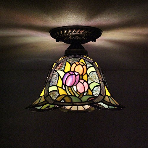 8-inch Vintage Pastoral Stained Glass Tiffany Tulips Ceiling Light Living Room Chandelier Hallway Chandelier