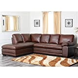 Abbyson Living Porter Leather Sectional Sofa in Chestnut (SF-5300-CST)