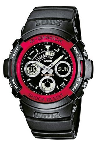 Casio G-Shock AW-591-4AER Analog and Digital Quartz Multifunction Sports Watch with Red bezel, Stopwatch, Timer, Alarm, Time Zones and Black Rubber Strap