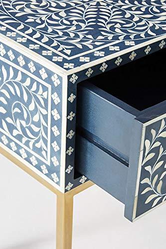 Scroll Vine Bone Inlay Handmade Night Stand Side Table in Blue