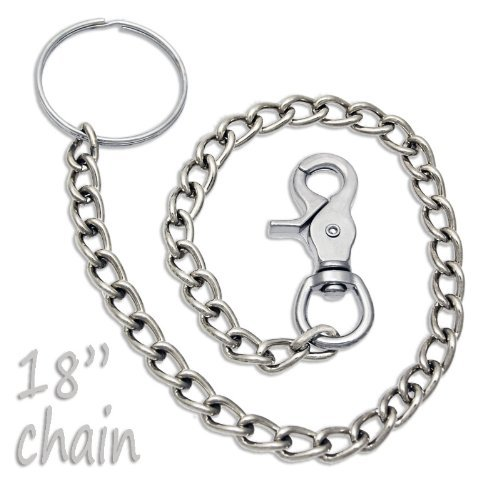 "18"" Chrome Steel Wallet Chain Trigger Snap Hook front-35736"