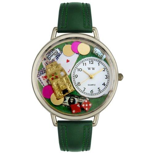 Whimsical Watches Unisex U0430005 Casino Hunter Green Leather Watch