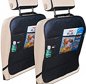 Linden Tree Baby Kick Mats 2 pack. Protect Your Car Seat Backs from Scuffmarks, Footprints And Have Extra Storage. SECURE Fit. Adjustable Top Clip. Elastic Bottom Strap. EASY to Clean. Fits All Cars.