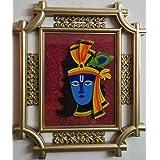 Laps Of Luxury - Krishna God Idol Wall Hanging Glass Photo Frame In Golden Colour Metal Like Border Finish (16x14...