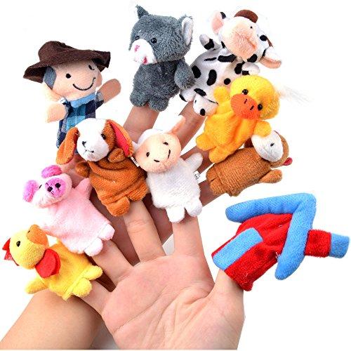 Zeagoo® 10Pcs Set Finger Puppet Plush Toy Kids Baby Dolls Bed Story Telling
