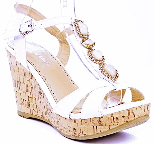 Jjf Shoes Act White Gem Jewel Rhinestone Dress T-Strap Platform Cork Wedge Heel Sandals-5