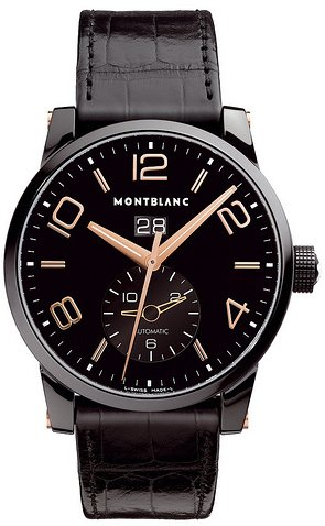 Montblanc Black Dial Automatic Black Alligator Leather Mens Watch 106066