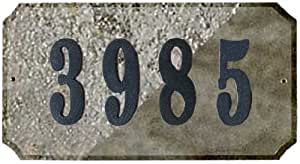 Qualarc EXE-4702QZ-PN Executive Rectangle Address Plaque in Quartzite Stone Color with 4-Inch Polymer Numbers