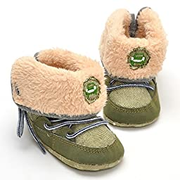 LIVEBOX Baby Premium Soft Sole Bow Anti-Slip Mid Calf Warm Winter Infant Prewalker Toddler Snow Boots (L: 12~18 months, Olive Green)